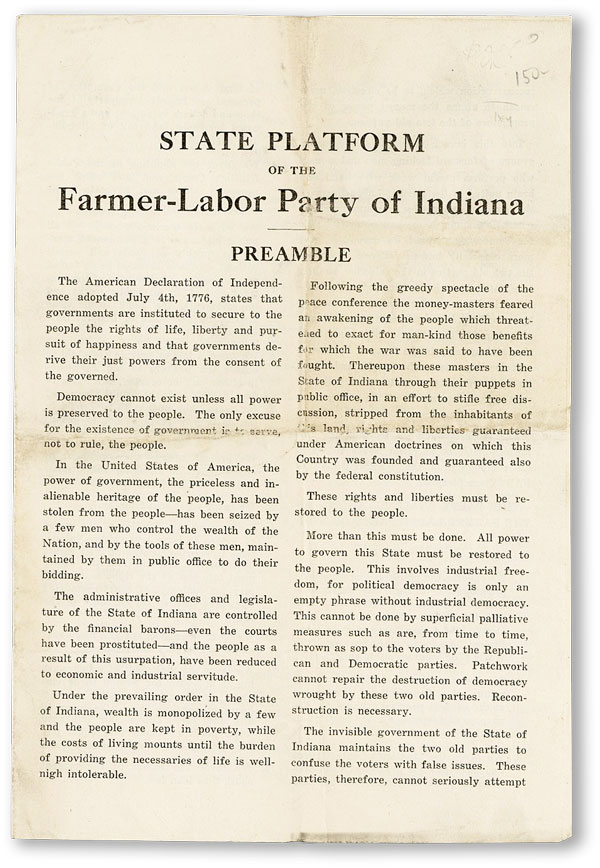 State Platform of the Farmer-Labor Party of Indiana. FARMER-LABOR PARTY - INDIANA