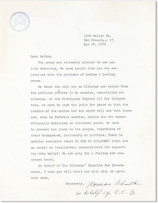 Typed Letter, Signed. CITIZENS' COMMITTEE FOR DISARMAMENT, Norman CHASTAIN