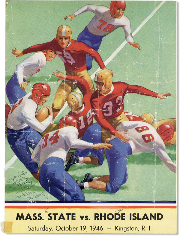 Mass. State vs. Rhode Island. Saturday, October 19, 1946 - Kingston, R.I. COLLEGE FOOTBALL -...