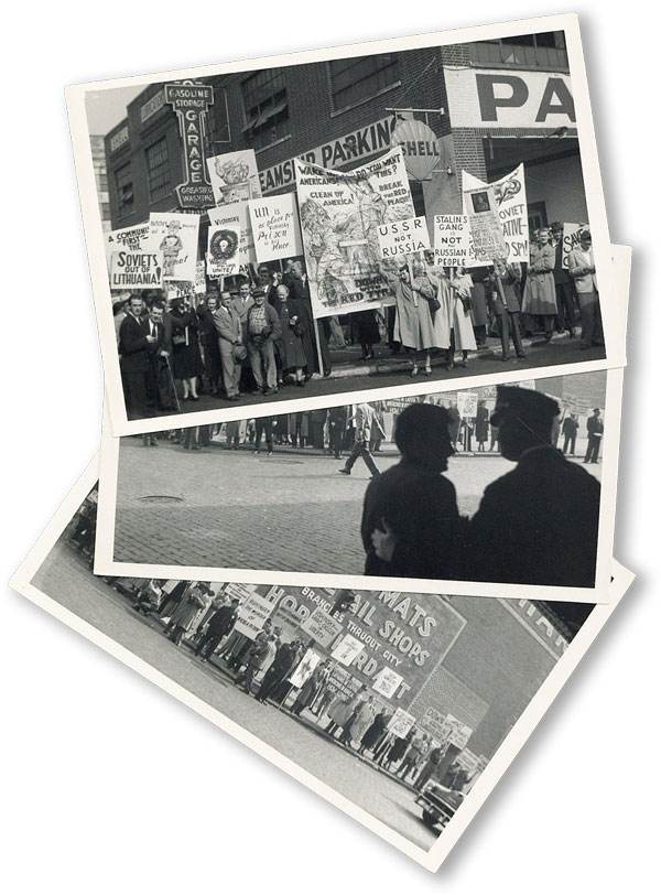 Three Amateur Photographs of an Anti-Soviet Street Protest, New York, 1952. ANONYMOUS PHOTOGRAPHER