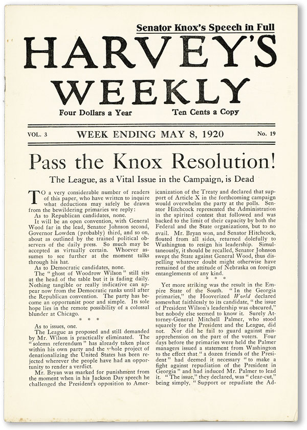 "Harvey's Weekly. Vol. 3, no. 19 (week ending May 8, 1920) - ""Pass the Knox Resolution!"" AMERICAN..."