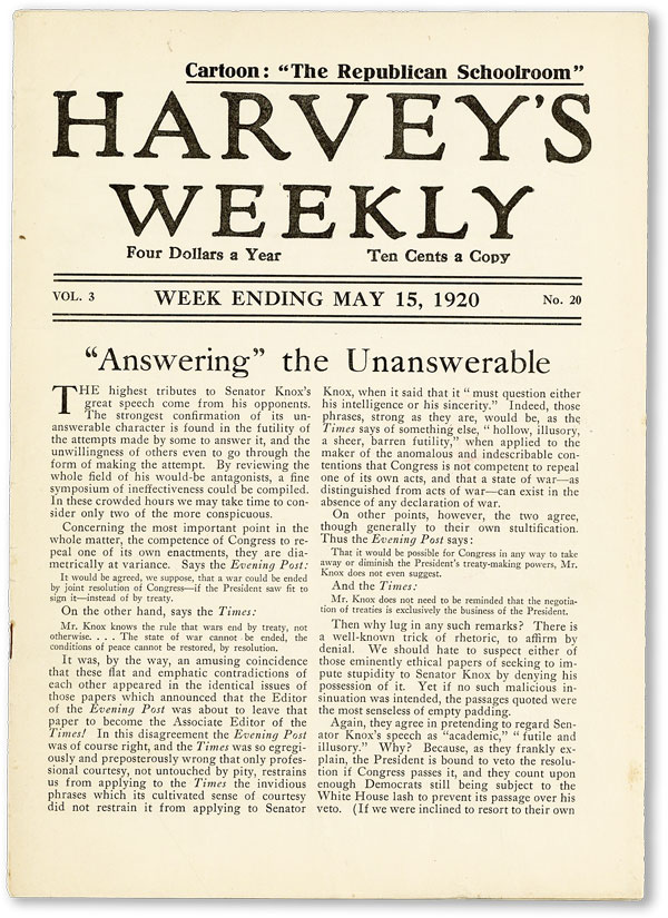 "Harvey's Weekly. Vol. 3, no. 20 (week ending May 15, 1920) - ""Answering the Unanswerable""..."