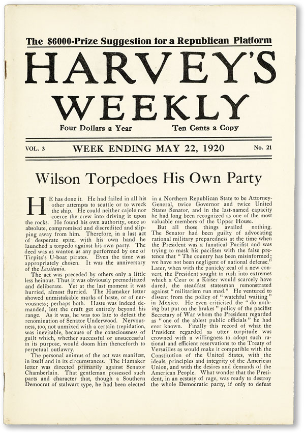"Harvey's Weekly. Vol. 3, no. 21 (week ending May 22, 1920) - ""Wilson Torpedoes His Own Party""..."