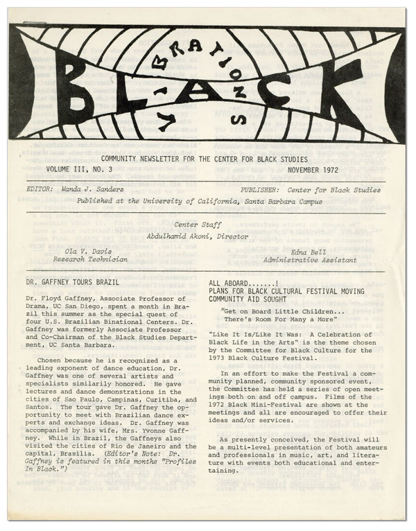 Black Vibrations: Community Newsletter for the Center for Black Studies - Vol.III, No.3...