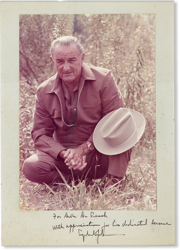 Color photographic portrait, inscribed to Cartha De Loach. PRESIDENTIAL AUTOGRAPHS, Lyndon Baines...