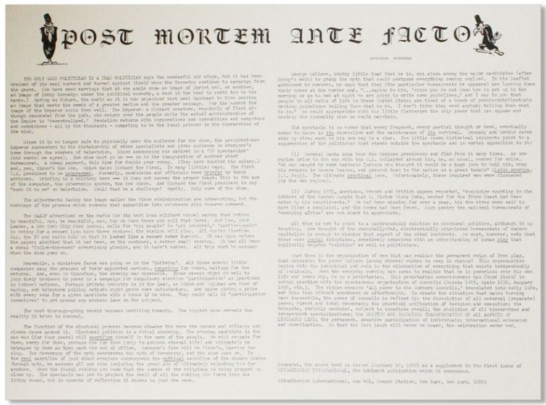 "Original Broadside: Post Mortem Ante Facto. NEW LEFT - SITUATIONISM, ""Anonymous Proletarian"",..."