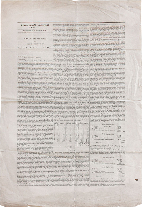 Broadsheet] Portsmouth Journal Extra...An Address to Congress on the Protection of American...