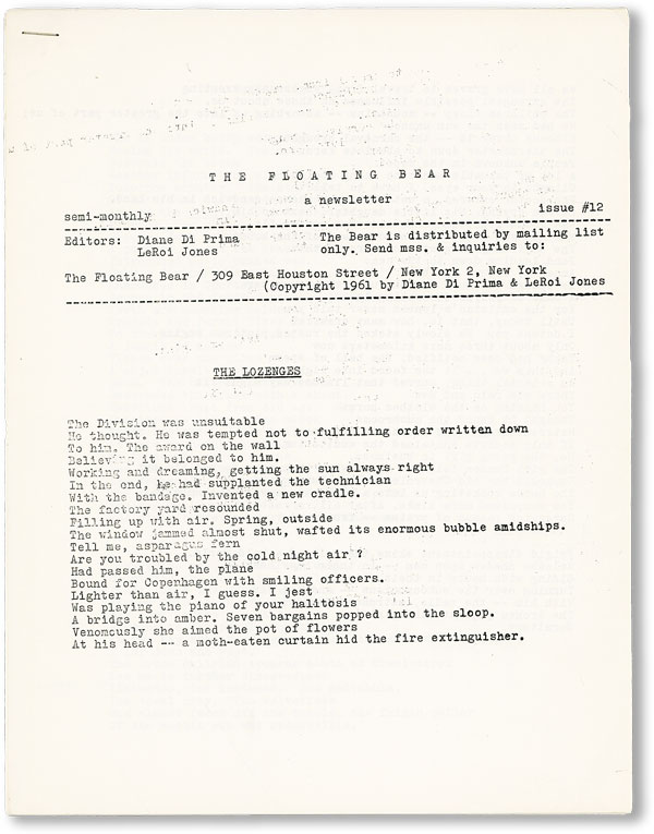 The Floating Bear: A Newsletter. Issue # 12. John ASHBERY, contr., Diane DI PRIMA, eds LeRoi...
