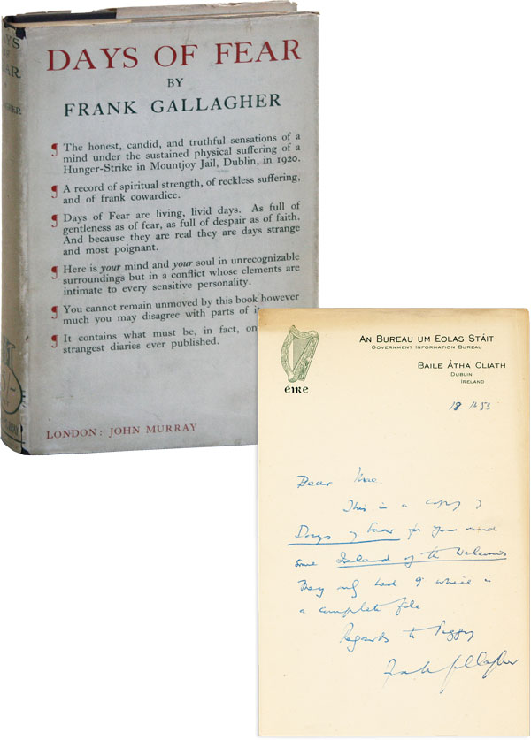 Days of Fear [Two Editions] [WITH] Autograph Note Signed. IRELAND, Frank GALLAGHER