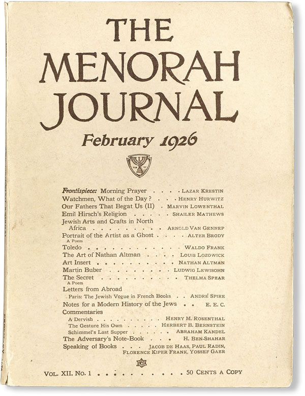 The Menorah Journal, Vol. XII, no. 1, February, 1926. Waldo FRANK, contr., Henry HURWITZ, ed