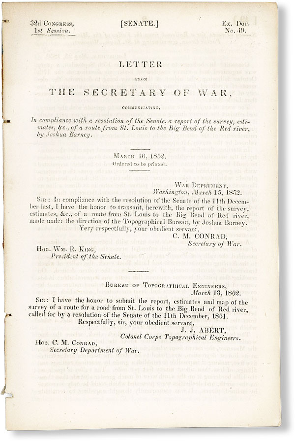 Letter from the Secretary of War, Communicating, in compliance with a resolution of the Senate, a...
