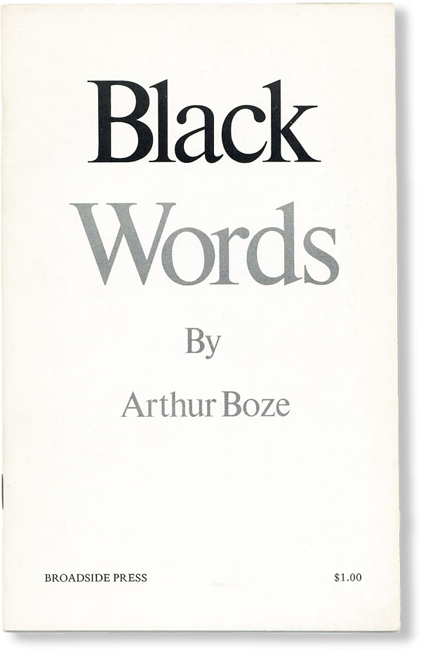 Black Words. AFRICAN AMERICANS, Arthur BOZE, POETRY