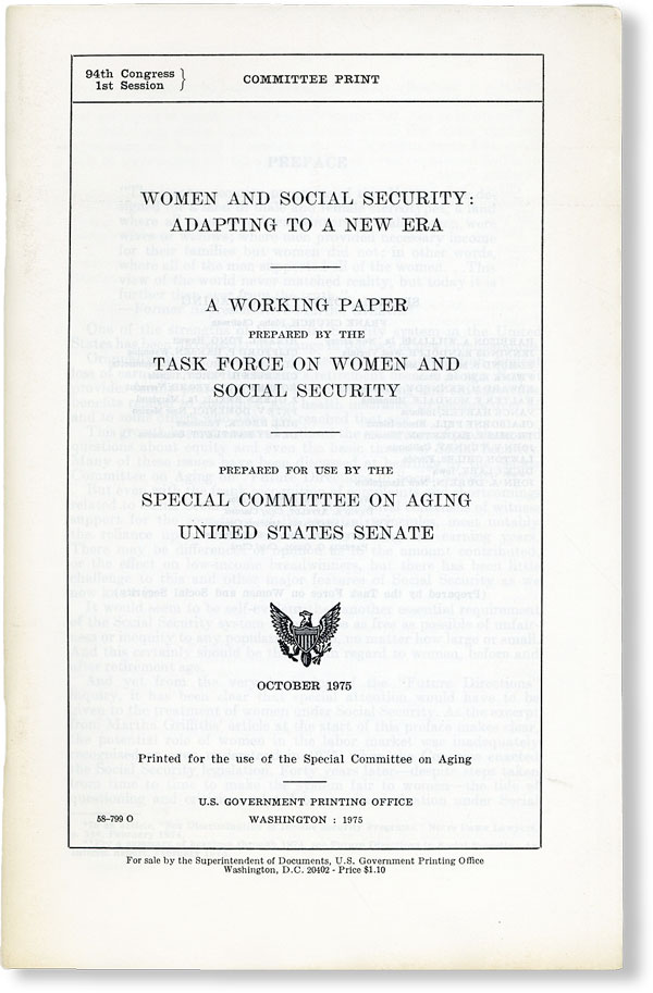 Women and Social Security: Adapting to a New Era. A Working Paper Prepared by the Task Force on...