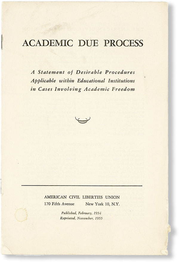 Academic Due Process: A Statement of Desirabe Procedures Applicable within Educational...
