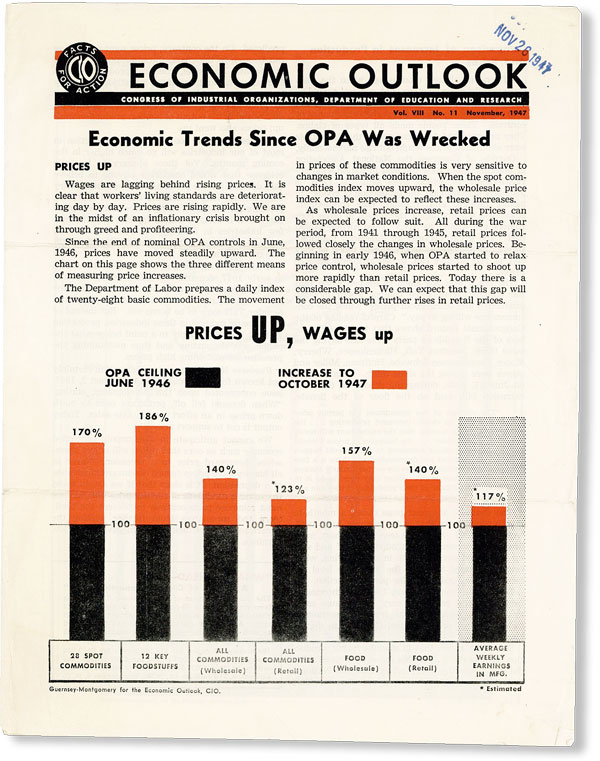 Economic Outlook, Vol. VIII, no. 11, November, 1947. DEPARTMENT OF EDUCATION AND RESEARCH...