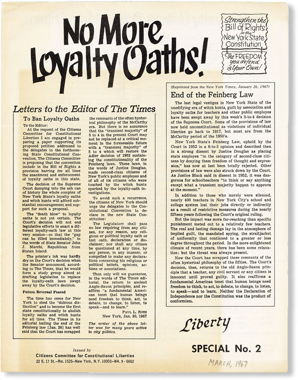 No More Loyalty Oaths! [Liberty Special No. 2]. CITIZENS COMMITTEE FOR CONSTITUTIONAL LIBERTIES