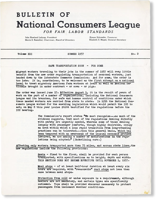 Bulletin of National Consumers League, Vol. XXI, no. 2, Summer, 1957. NATIONAL CONSUMERS LEAGUE