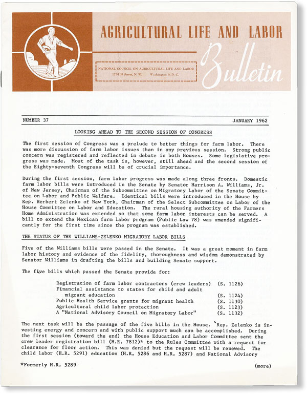 Agricultural Life and Labor Bulletin, No. 37, January, 1962. NATIONAL COUNCIL ON AGRICULTURAL...