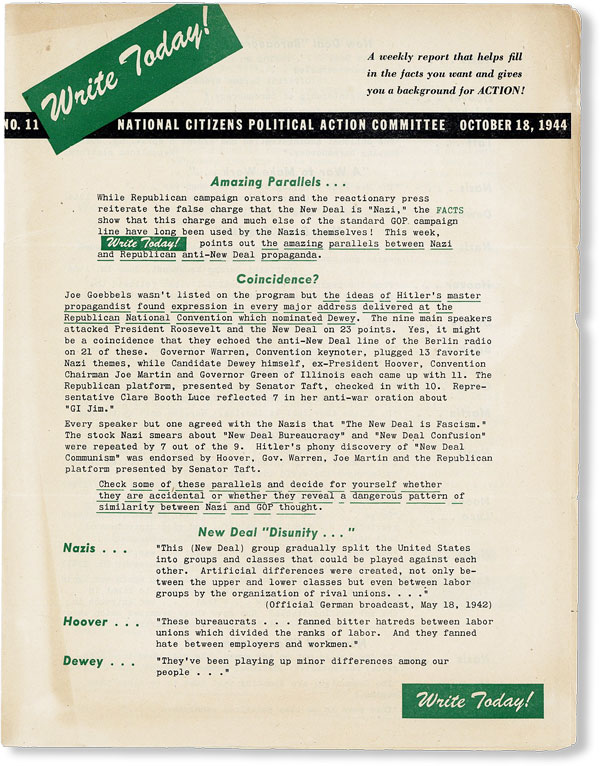 Write Today! No. 11, October 18, 1944. NATIONAL CITIZENS POLITICAL ACTION COMMITTEE