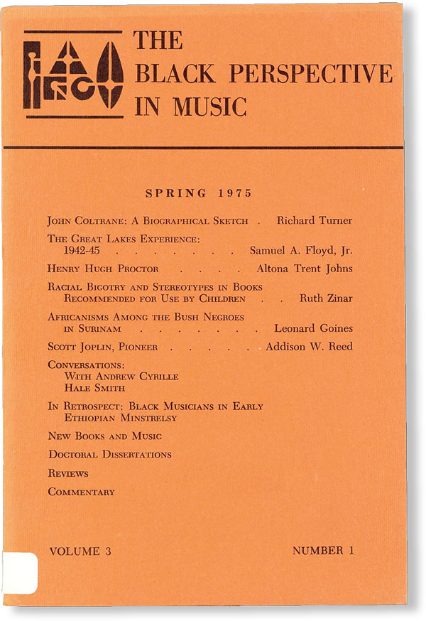 The Black Perspective in Music - Vol.3, No.1 (Spring, 1975). AFRICAN AMERICANA, Eileen SOUTHERN,...