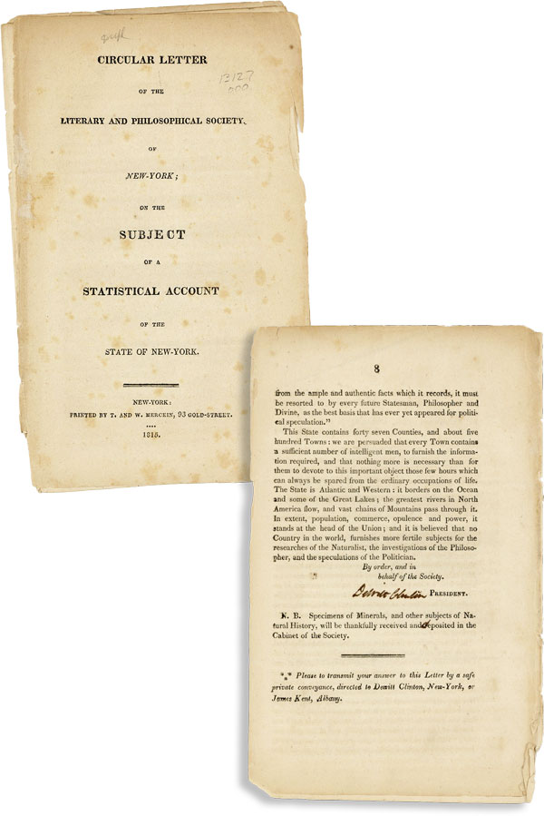 Circular Letter of the Literary and Philosophical Society, of New-York; on the Subject of a...
