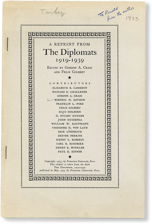"Turkish Diplomacy from Mudros to Lausanne [Cover title: A Reprint from ""The Diplomats,..."