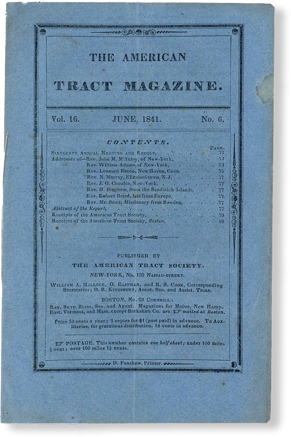 The American Tract Magazine, Vol. 16, no. 6, June, 1841. AMERICAN TRACT SOCIETY