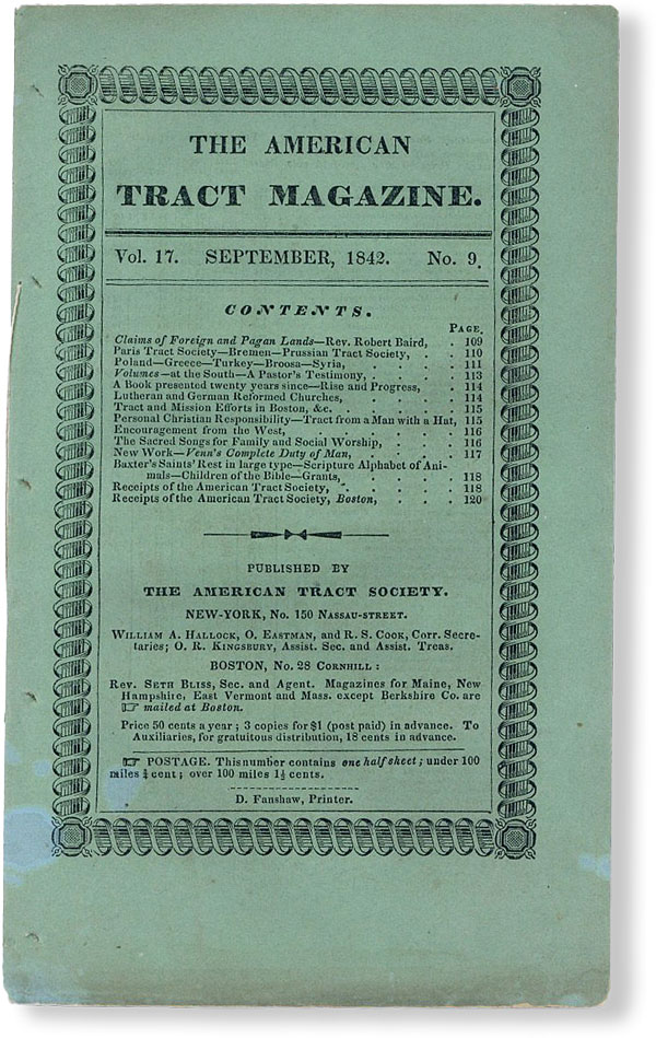 The American Tract Magazine, Vol. 17, no. 9, September, 1842. AMERICAN TRACT SOCIETY