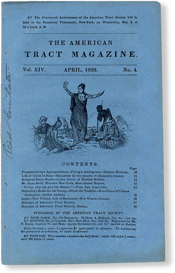 The American Tract Magazine, Vol. XIV, no. 4, April, 1839. AMERICAN TRACT SOCIETY