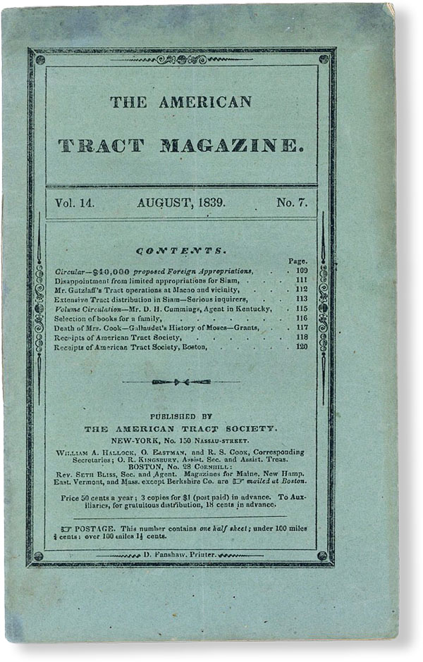 The American Tract Magazine, Vol. 14, no. 7 [i.e. 8], August, 1839. AMERICAN TRACT SOCIETY
