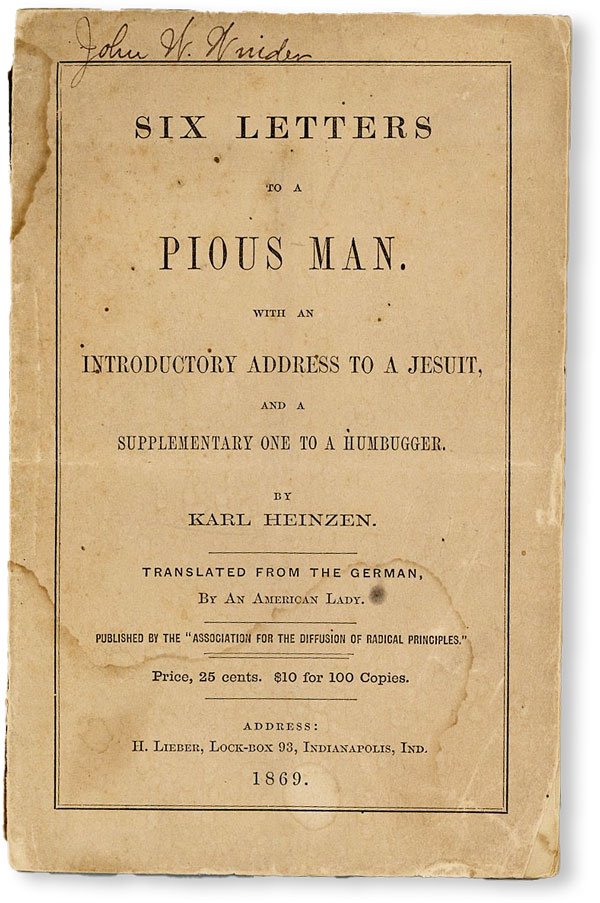 Six Letters to a Pious Man. With an introductory address to a Jesuit, and a supplementary one to...