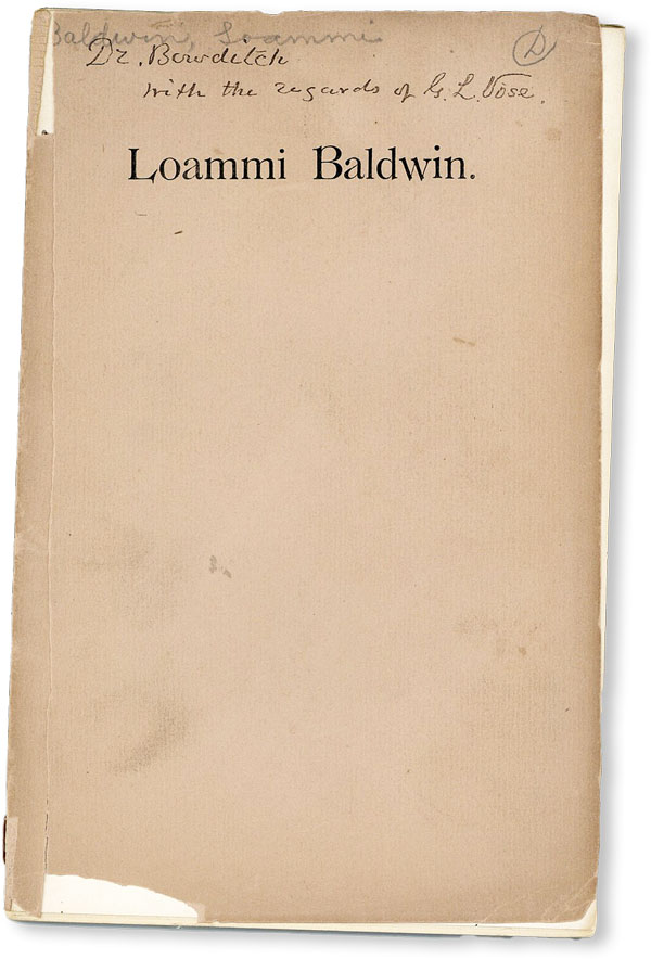 A Sketch of the Life and Works of Loammi Baldwin, Civil Engineer, Read before the Boston Society...