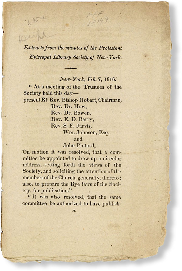Drop Title] Extracts from the Minutes of the Protestant Episcopal Library Society of New-York....