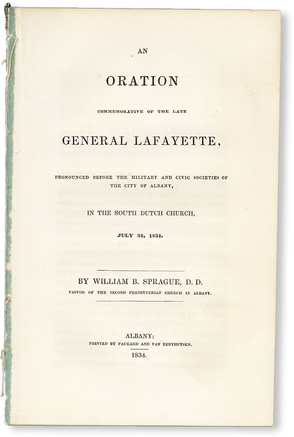 An Oration Commemorative of the Late General Lafayette, Pronounced before the military and civic...