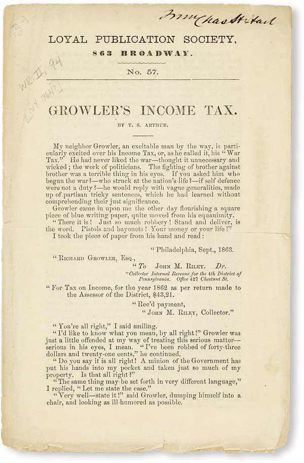 Growler's Income Tax [Loyal Publication Society No. 57]. T. S. ARTHUR
