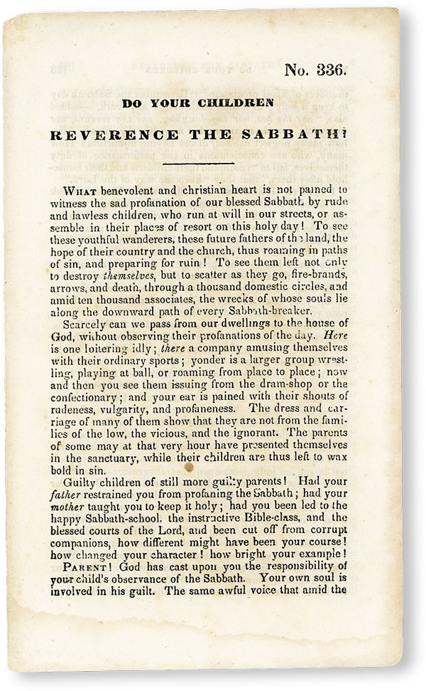 Do Your Children Reverence the Sabbath? [No. 336]. AMERICAN TRACT SOCIETY