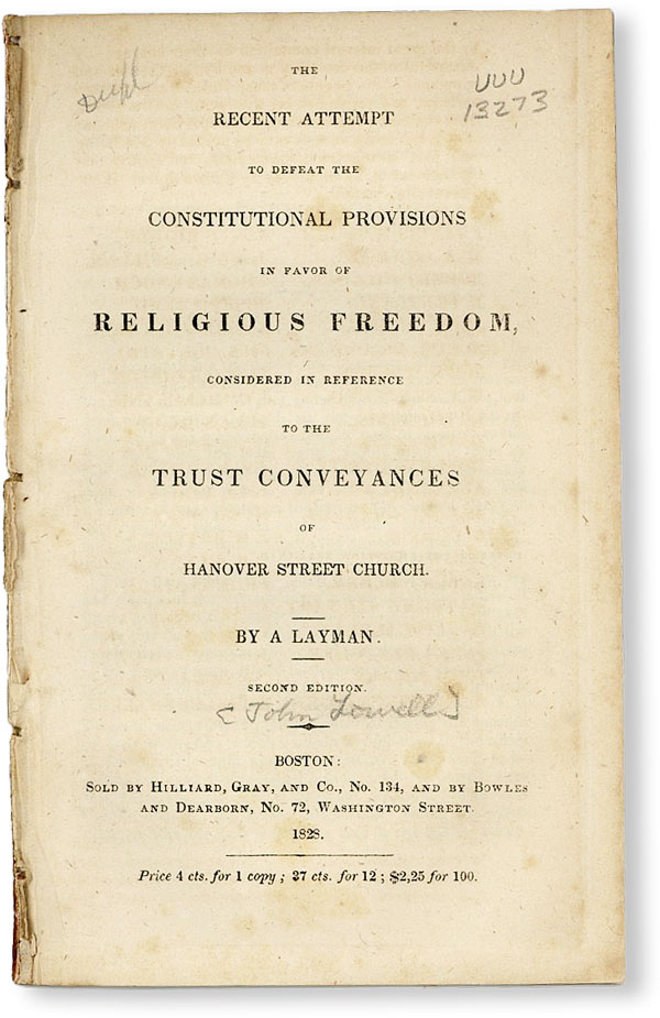 The Recent Attempt to Defeat the Constitutional Provisions in Favor of Religious Freedom,...