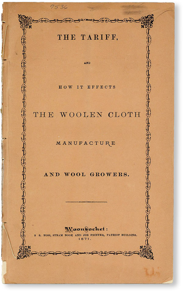 The Tariff and How It Effects [sic] the Woolen Cloth Manufacture and Wool Growers. Edward HARRIS