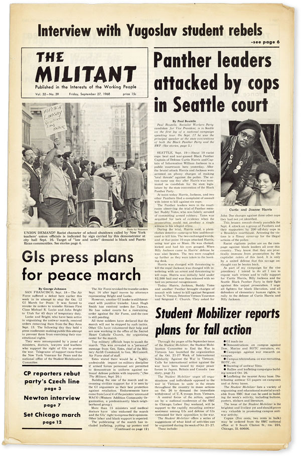 The Militant - Vol.32, No.39 (September 27, 1968). BLACK PANTHER PARTY, Barry SHEPPARD, Huey P....