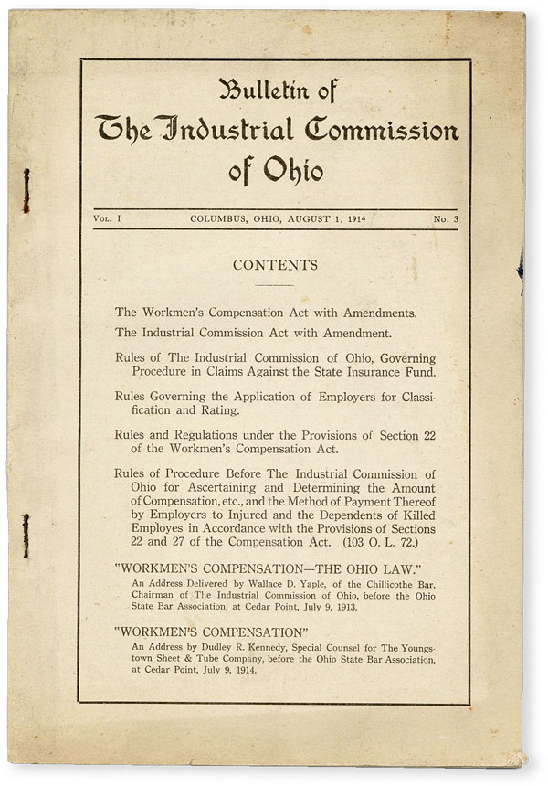 Bulletin of the Industrial Commission of Ohio. Vol. 1 no. 3 (August 1, 1914). LABOR HISTORY -...
