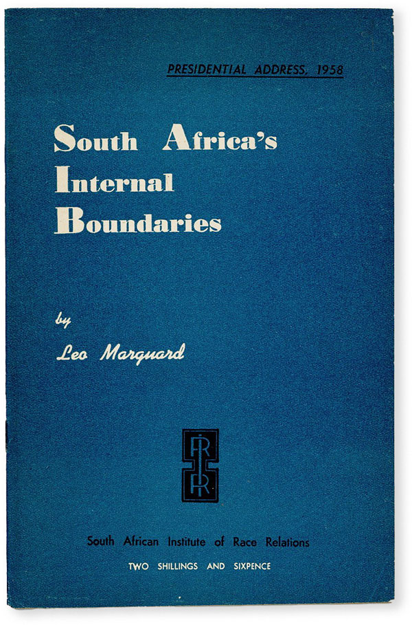 Presidential Address, 1958: South Africa's Internal Boundaries. Leo MARQUARD