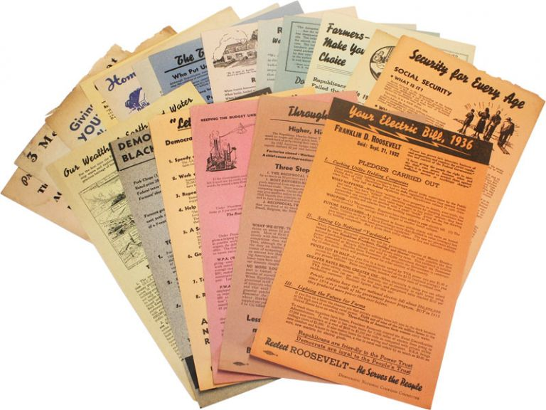 19 Democratic Party Campaign Broadsides for the Elections of 1938. FDR, Democratic National...