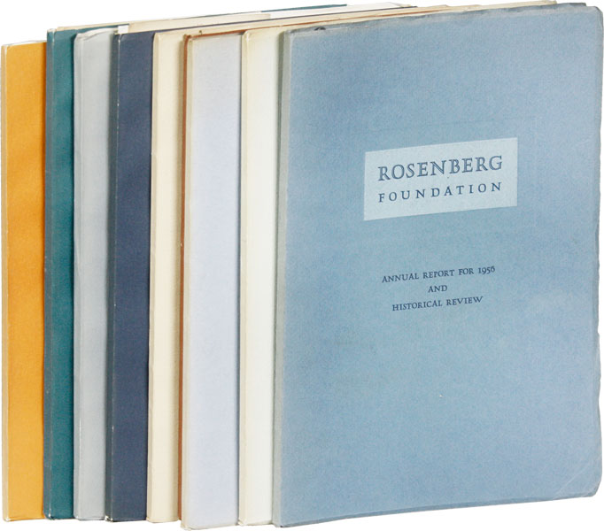 Rosenberg Foundation Annual Report For 1956 [through 1964]. Nine Volumes. ROSENBERG FOUNDATION
