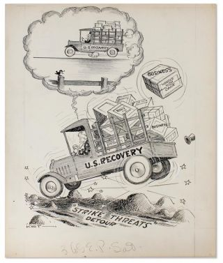 "Original pen-and-ink drawing: ""U.S. Recovery"""