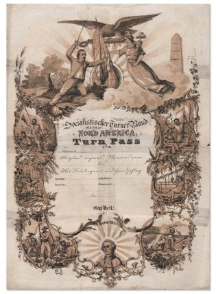 Lithographed Membership Certificate for the Socialistischer Turner-Bund, ca.1850's