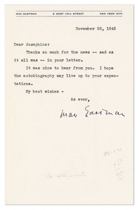 "Typed Note, signed, to ""Joesphine"" [Herbst?], dated November 25, 1945"