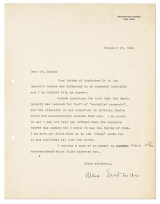 "Typed Letter, signed. 1pp, to ""Mr. Simon"", dated November 15, 1941"