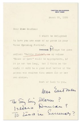 "Typed Note, signed. 1pp, to ""Miss Mendham"", dated March 30, 1938"