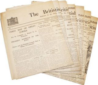 "Archive of 15 pieces of printed ephemera relating to the 1926 General Strike in Great Britain, including all eight issues of Winston Churchill's anti-labor newspaper ""The British Gazette"""