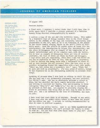 Journal of American Folklore, Vol. 78, no. 309, July-September, 1965 / Hillbilly Issue [Inscribed and Signed by Greenway; Typed Letter Signed Laid in with Carbon Copy Response]